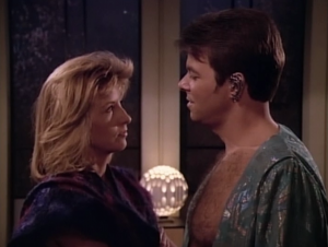 """In """"Angel One"""" Riker goes on an away mission and acts totally professional the whole time"""