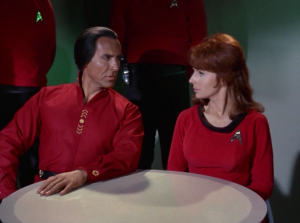 """In """"Space Seed"""", Khan and McGyvers have a relationship, although I'm not sure why they still like each other by the end. McGyvers betrayed Khan, and Khan is, ya know, and brutal dictator, which doesn't seem like it should be McGyvers type"""