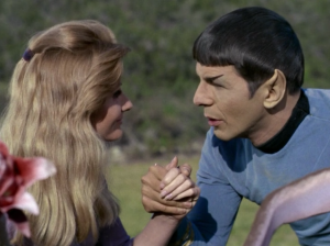 """In """"This Side of Paradise"""" Spock reconnects with someone he used to know, and some spores make him fall in love with her"""