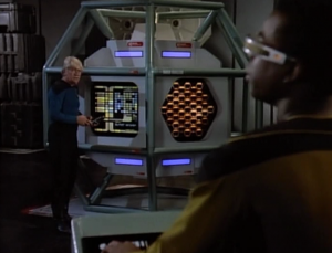 The other plot is about transporting something really dangerous. Geordi's first job as chief engineer was to build a containment device for it, and it's not really working.