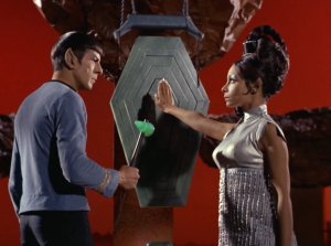 """In """"Amok Time"""" Spock is arranged to marry T'Pring, but she makes him fight Kirk to the death because she wants to marry someone else"""