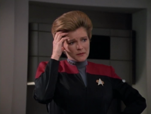 Janeway is faced with the dilemma of allowing some of the crew to stay in the cool cities even if it means the remaining crew will have a more difficult journey home.