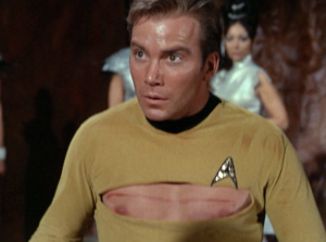Kirk's shirt get torn in the silliest possible place
