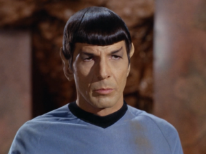 """Spock tells the other guy he can have her. Spock: """"'Wanting' isn't the same thing as 'having,' sucker""""."""