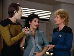 """Pulaski: """"In my other deliveries, except for a couple, the father was always present... Counselor Troi is going to need the comfort of a human touch not the cold hand of technology."""" How can she say such a thing to Data! Let's be outraged!"""