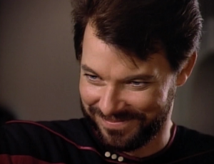 """Troi: """"Were you here all along?""""Riker: """"Yes""""Man, Riker is soo cool!"""