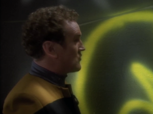 "A Bajoran extremist group called ""the circle"" likes to draw on walls"