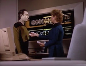 """Data: """"My name, it is pronounced data"""" [day-ta]Pulaski: """"oh?""""Data: """"You called me 'data'"""" [da-ta]haha what's the differenceData: """"One is my name, the other is not.""""Pulaski: """"Is this possible? With all your neural nets, algorithms, and heuristics is there some combination of circuits that makes up for bruised feelings?"""""""