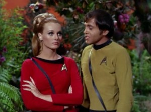 Chekov has a lady friend in this episode. We get to hear all of Chekov's not-so-great romantic lines
