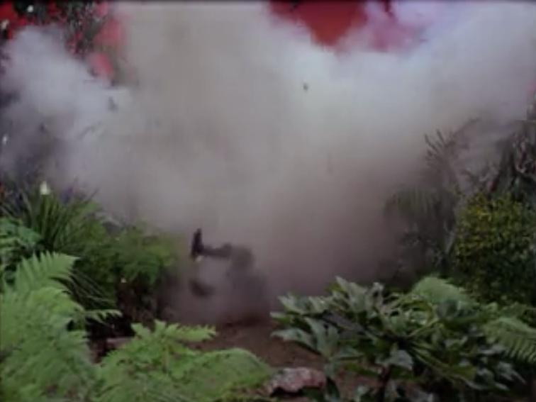 Another red shirt steps on a rock and explodes. There are explosive rocks on the planet