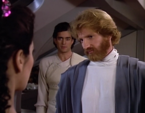 """In """"Loud as a Whisper"""" a def guy flirts with Troi through his interpreter. It's really weird"""