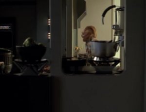 Part of the reason the beginning of this episode is so cool is because we get the sense things are really serious. Then the EMH goes to check on Neelix and he's taunting a Kazon and throwing food at him. He ends up taking him out with a frying pan