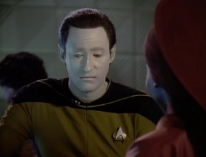 Everyone keeps telling Data horrible jokes, and says it's Data's fault for not laughing.