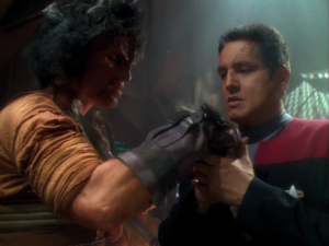 The Kazon leader tells Chakotay to kill the kid, cause it will teach the other kids a lesson.