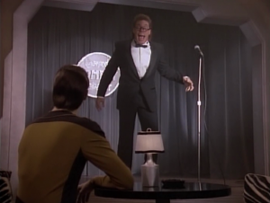 Data seeks out the guidance of a holographic comedian