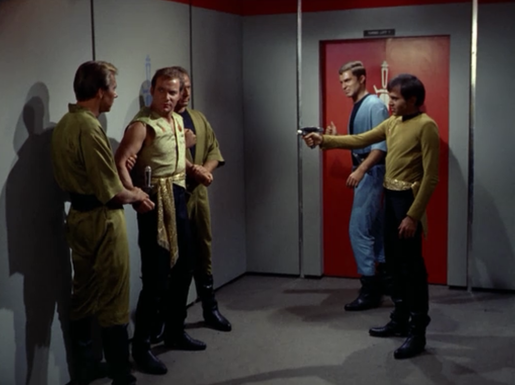 Somehow in the middle of the showdown Kirk apparently has time to make a captains log