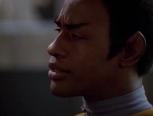 Neelix goes to Tuvok for guidance. This is my favorite scene in the episode. It has Tuvok in it.