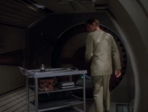 Hmmm, that's weird. The ship is gone and there's a random cart sitting in the airlock