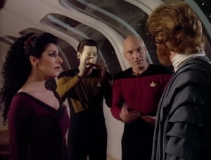 Data keeps signing words before Picard actually says them.
