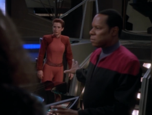 They figure out that Odo has been freed and try to get out of there.