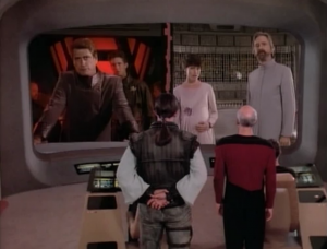 Two ships show up and each wants Okona handed over to them. They threaten action but are too weak to damage Enterprise