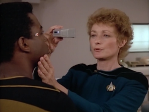 Pulaski says she might be able to fix Geordi's blindness. She's done something like it twice before. Too bad she only stays for a season. Sorry Geordi