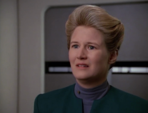 Wildman says she's pregnant. The father is back on DS9. Didn't they leave like a year ago?