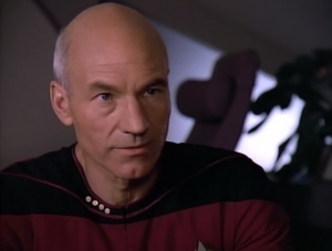 ...It's also cool when Picard figures out that he's being messed with, although Troi and Data very suddenly go from acting completely normal to acting totally different