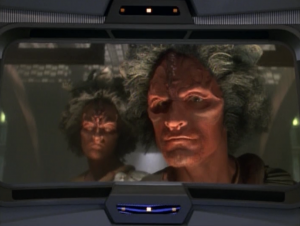 Meanwhile back on Voyager, the Kazon show up