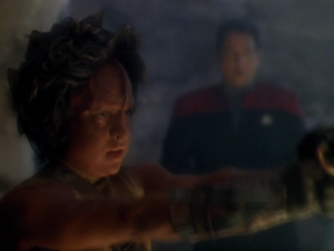 Chakotay comes up with a plan for Kazon-Nog to kill him so he can earn his name, and then The Doctor can just revive him. Kazon-Nog decides to kill the Ogla leader instead.