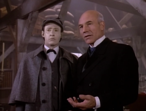 It's cool how Picard explains a holodeck. He convinces Moriarty to give back control of the holodeck. Picard promises to save his program for another episode