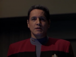 Chakotay shows up and says everything Barclay's been saying is wrong. What's really happened is The Doctor was taking a break and playing a holo-novel and some radiation happened. Yeah, cause while the Doctor was on break he would play a holo-novel about a Kazon attack where he has to save everyone. So it's like his job that he's taking a break from except even more stressful