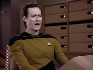 But then Data makes everyone laugh! Hooray! It was also a bad joke