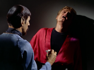 "Spock punishes Kyle with an ""agonizer"""
