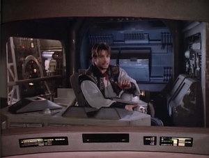 Enterprise comes across a guy in a ship. He jokes about how he used to be considered dangerous, and that he's all alone.