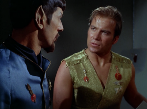 Before Kirk goes back to the normal universe he gives Spock a lecture on how to start a revolution.