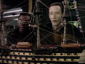 Geordi built a model ship and took it into work with him