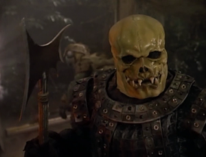 Worf fights a skull thing!