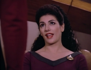 Then Troi tells us that he's brazen, might be mischievous, and can be described as a rogue. Yeah, that's pretty much what he just told us, right?