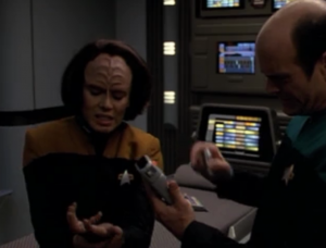 B'Elanna shows up. Says no one appeared on sensors because they were damaged.