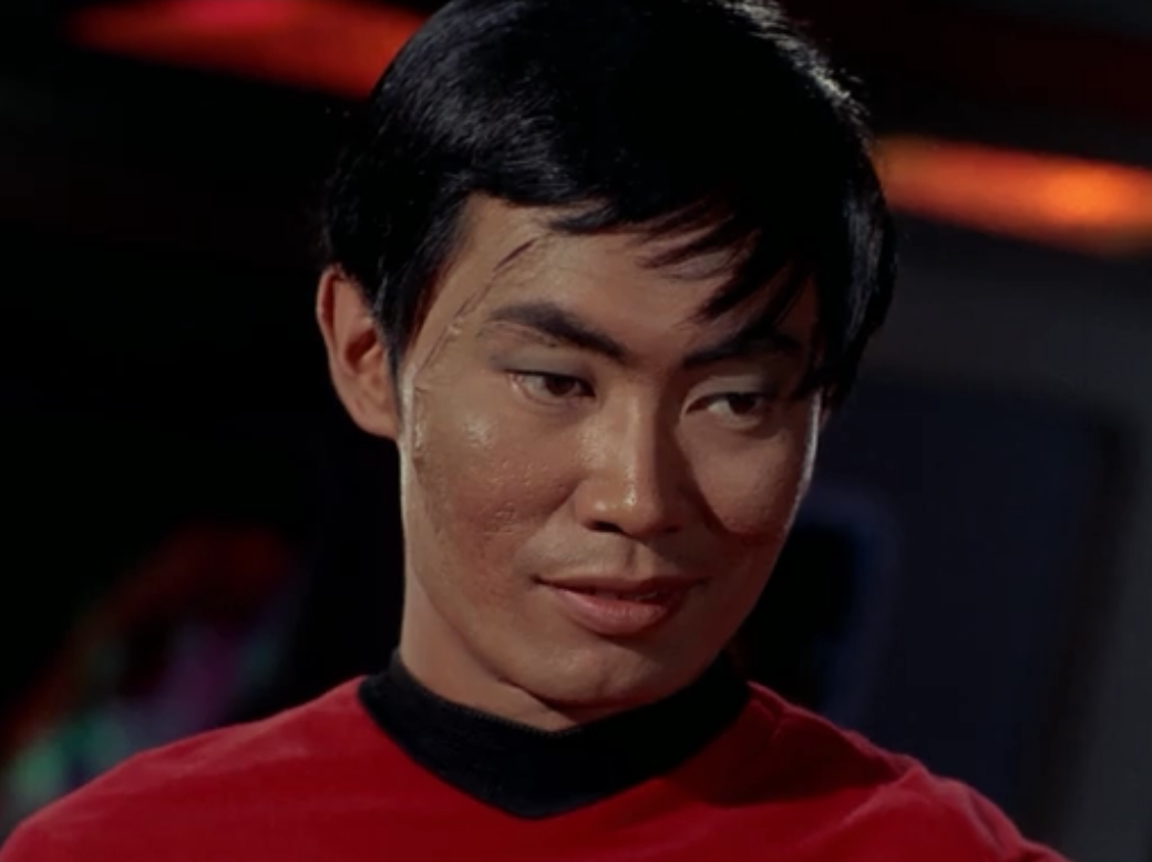 Mirror Sulu wear red, and was scratched on his face
