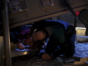 The Doctor can transfer to the bridge because apparently the crew has been working on holo-emitters around the ship