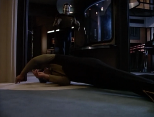Geordi gets electrocuted by a control panel, and Data throws him away from it. This is a rough episode for Geordi