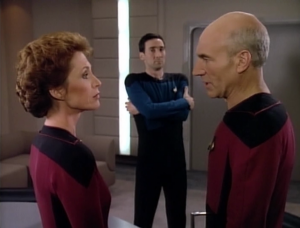 They determine that Data is a machine that is property of the Federation and he can't resign. Picard challenges this determination!