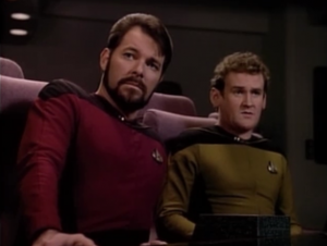 O'Brien sits in the meeting and comes up with a  technobabble solution and everything!