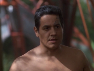 Chakotay's flashbacks resemble resemble his current location and inform his decisions on what to do. This might be an interesting story telling technique except the premise that this place is inhabited by the same kind of people on earth is far-fetched, and the things he does are weird. For example, it was only because of a flashback that he knew he should take off all his clothes