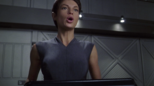 T'Pol points out that it probably wasn't a great idea to bring Porthos on a diplomatic mission with aliens that are offended by everything just because Porthos needed some fresh air.