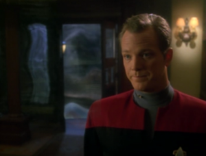 "They're pushed back into the holodeck. Paris: ""We're not going anywhere."" Thanks Paris"