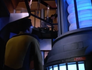 Wesley talks to GEORDI about his trouble talking to girls. Geordi says he doesn't have time for this