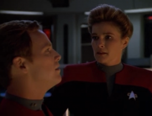 Then everyone starts to see visions and blank out. It's kind of cool when the episode goes from completely focused on Janeway to a ship wide incident